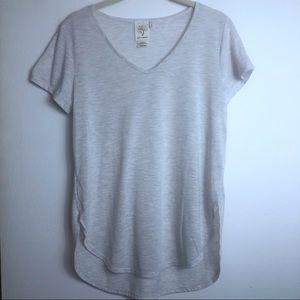Self Esteem Gray Blouse v-neckline H&L hem NWT Med